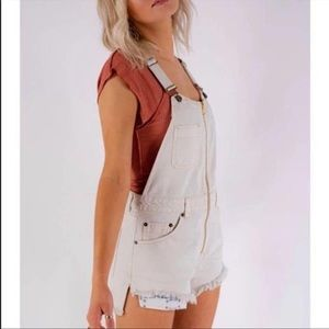 Free People Cream Sunkissed Shortall Overall Short